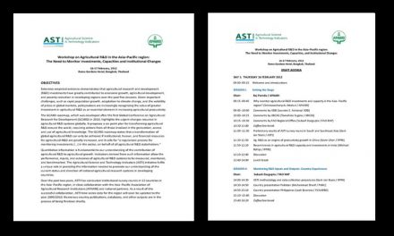 ASTI-APAARI Workshop on Agricultural R&D in the Asia–Pacific region: The need to Monitor Investments, Capacities, and Institutional Changes, 16-17 February, 2012, Bangkok, Thailand