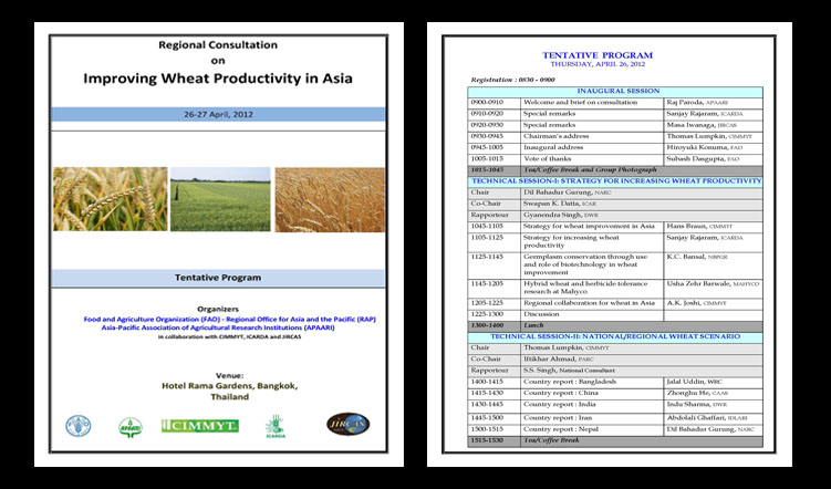 Regional Consultation on Improving Wheat Productivity in Asia, 26-27 April 2012, Bangkok, Thailand