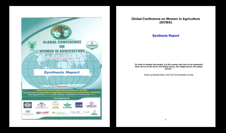 Global Conference on Women in Agriculture, 13-15 March, 2012, New Delhi, India