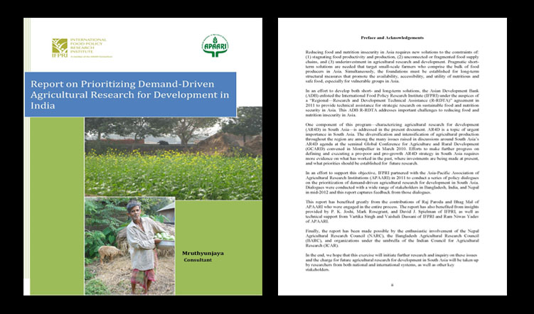 Report on Prioritization of Demand-Driven Agricultural Research for Development in India, 2011