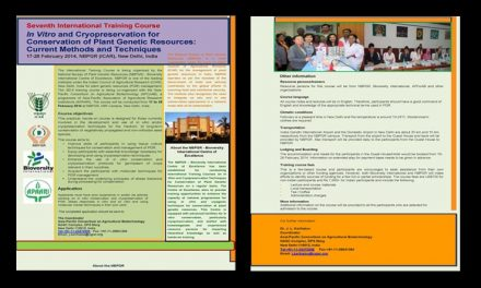 7th International Training Course on In Vitro and Cryopreservation for Conservation of Plant Genetic Resources: Current Methods and Techniques, 17-28 February 2014, New Delhi, India