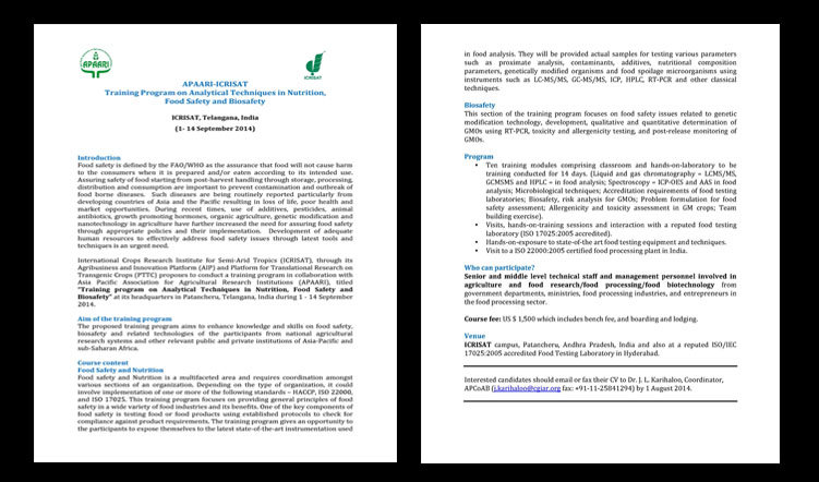 Training Program on Analytical Techniques in Nutrition, Food Safety and Biosafety on 1-14 September 2014 at ICRISAT, Telangana, India
