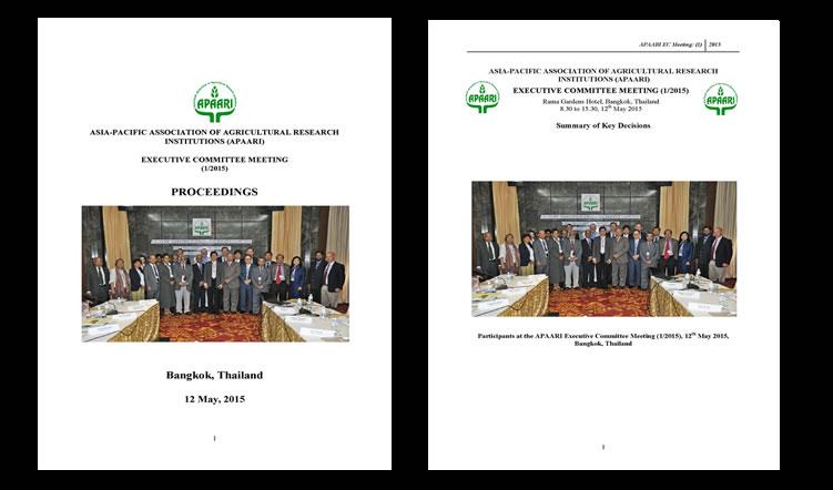 The Executive Committee Meeting of APAARI, 12 May 2015 – Proceedings