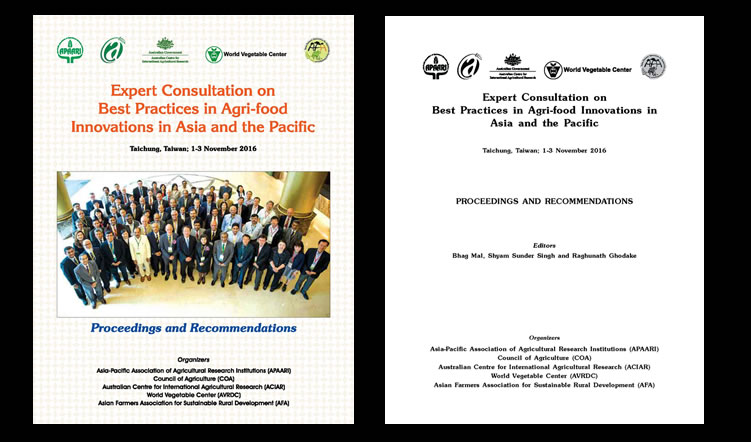Expert Consultation on Best Practices in Agri-food Innovations in Asia and the Pacific, Taichung, Taiwan; 1-3 November 2016