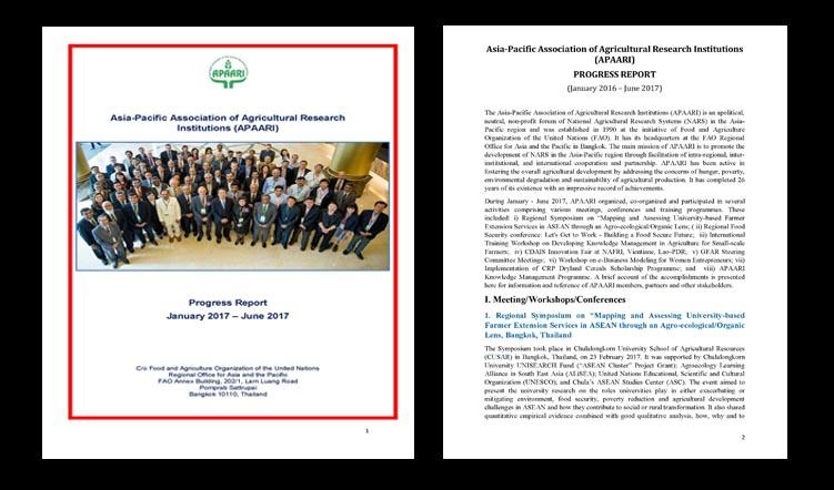 APAARI Progress Report (January–June 2017)
