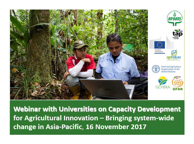Webinar with Universities on Capacity Development for Agricultural Innovation – Bringing System-Wide Change in Asia-Pacific