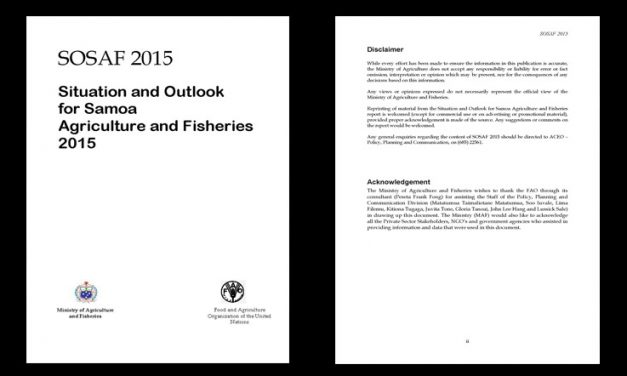 Situation and Outlook for Samoa Agriculture and Fisheries 2015