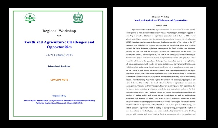 Regional Workshop on Youth and Agriculture: Challenges and Opportunities, 23-24 October 2013, Islamabad, Pakistan