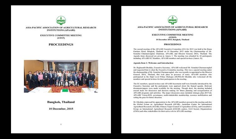 The Executive Committee Meeting of APAARI, 10 December 2015 – Proceedings