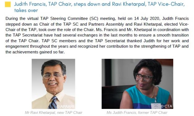 APAARI Executive Secretary Chairs the Tropical Agriculture Platform